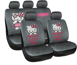 כיסויים בד איכותיים לרכב HELLO KITTY בצבעים  /אפור / ורוד / ...