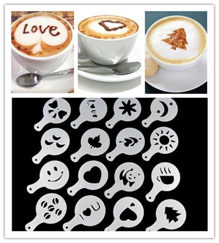 כיף יותר לשתות קפה עם 16 שבלונות מדליקות ליצירת צורות על הקפ...