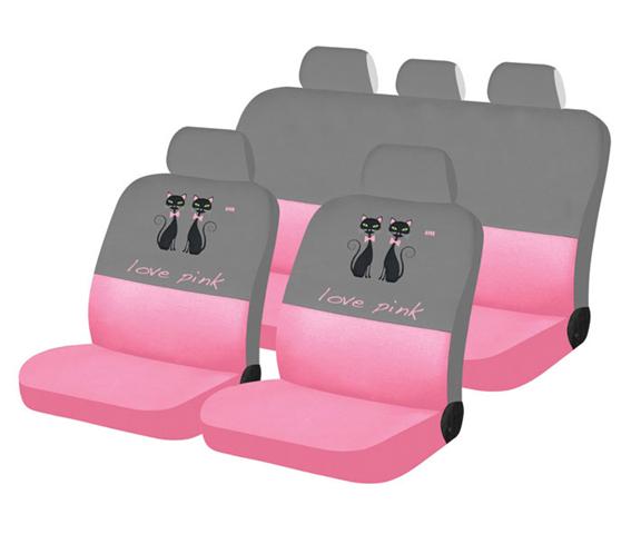 סט כיסויי מושבים מרופד לסלון הרכב מסדרת 'לאב פינק' עשוי מבד...