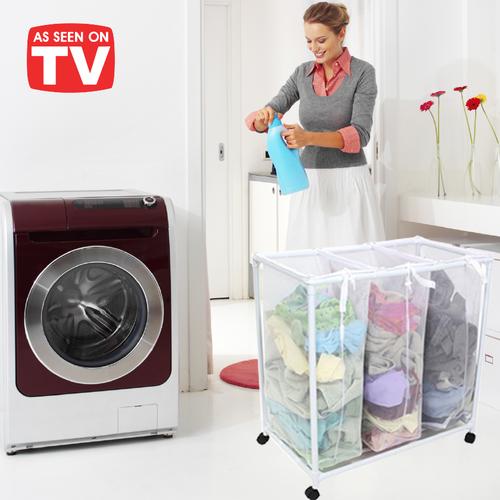 מהפך בחדר הכביסה! סל כביסה איכותי מחולק ל- 3 תאים ומאפשר למ...