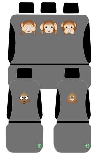 כיסוי מושבים אמוג'י שחור / אפור שלושת הקופים רק 179 ש