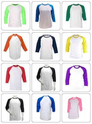 חולצות אמריקאיות משולבות 100% כותנה ! שרוול 3/4 מתאימות גם ...