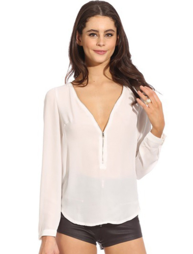 חולצת שיפון קלילה ואופנתית לנשים במבחר צבעים בשילוב ריצ'רץ'...