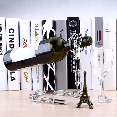 מעמד מדליק לבקבוק יין עשוי שרשרת ברזל מרותכת, מתנה מושלמת ל...
